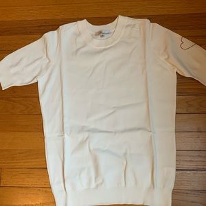 Dior Beauty Uniform White Sweater/Red heart NWOT